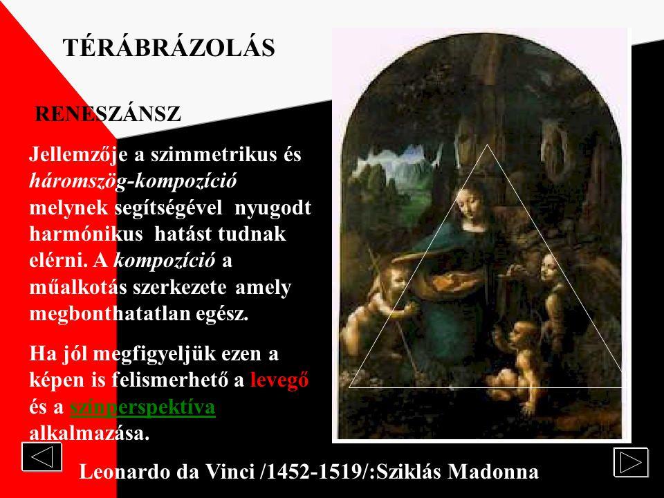 Leonardo da Vinci /1452-1519/ :Monalisa TÉRÁBRÁZOLÁS RENESZÁNSZ RENESZÁNSZ A reneszánsz művészet forrásai: Az antik művészet példáinak követése, a hag