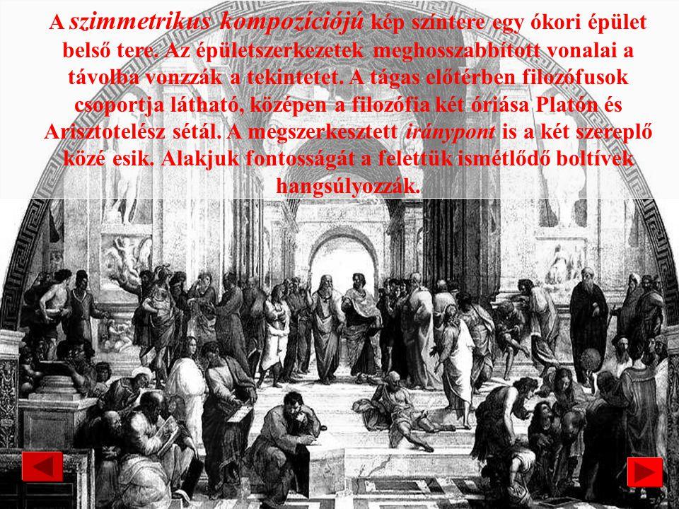 hv LINEÁRIS PERSPEKTÍVA Egy iránypontos perspektíva i= iránypont h.v= horizont vonal Raffaello Santi /1483 - 1520/: Athéni iskola i