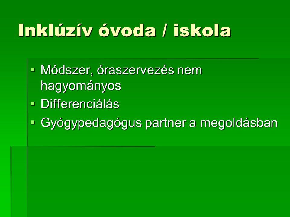 Inklúzív óvoda / iskola  Módszer, óraszervezés nem hagyományos  Differenciálás  Gyógypedagógus partner a megoldásban