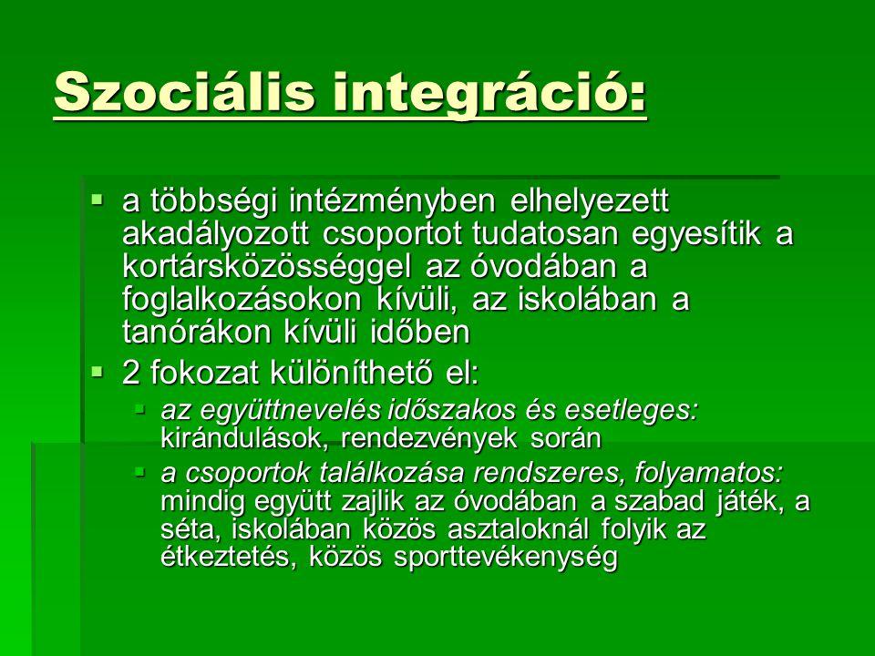 Szociális integráció:  a többségi intézményben elhelyezett akadályozott csoportot tudatosan egyesítik a kortársközösséggel az óvodában a foglalkozáso