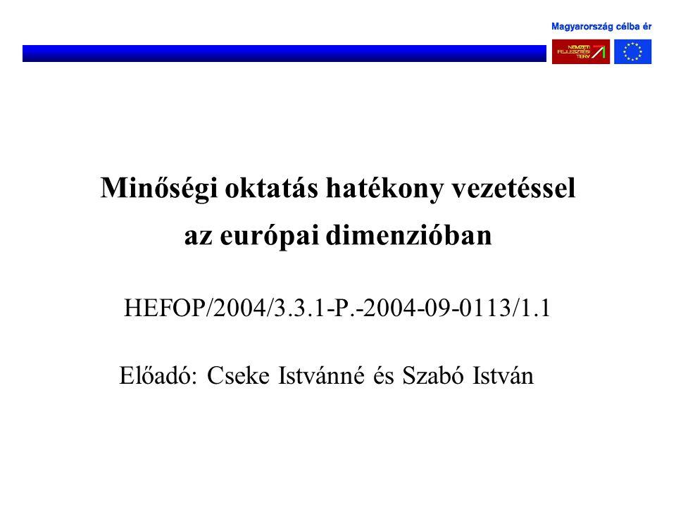 Minőségi oktatás hatékony vezetéssel az európai dimenzióban HEFOP/2004/3.3.1-P.-2004-09-0113/1.1 Előadó: Cseke Istvánné és Szabó István