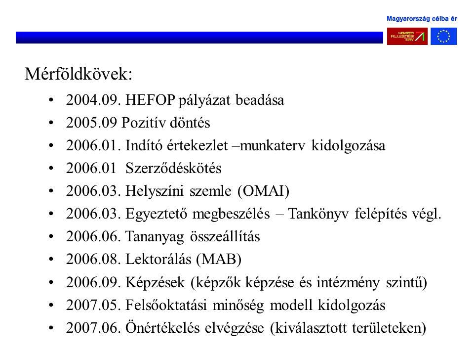 Mérföldkövek: 2004.09. HEFOP pályázat beadása 2005.09 Pozitív döntés 2006.01. Indító értekezlet –munkaterv kidolgozása 2006.01 Szerződéskötés 2006.03.