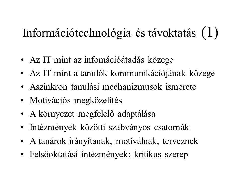 Információtechnológia és távoktatás (1) Az IT mint az infomációátadás közege Az IT mint a tanulók kommunikációjának közege Aszinkron tanulási mechaniz