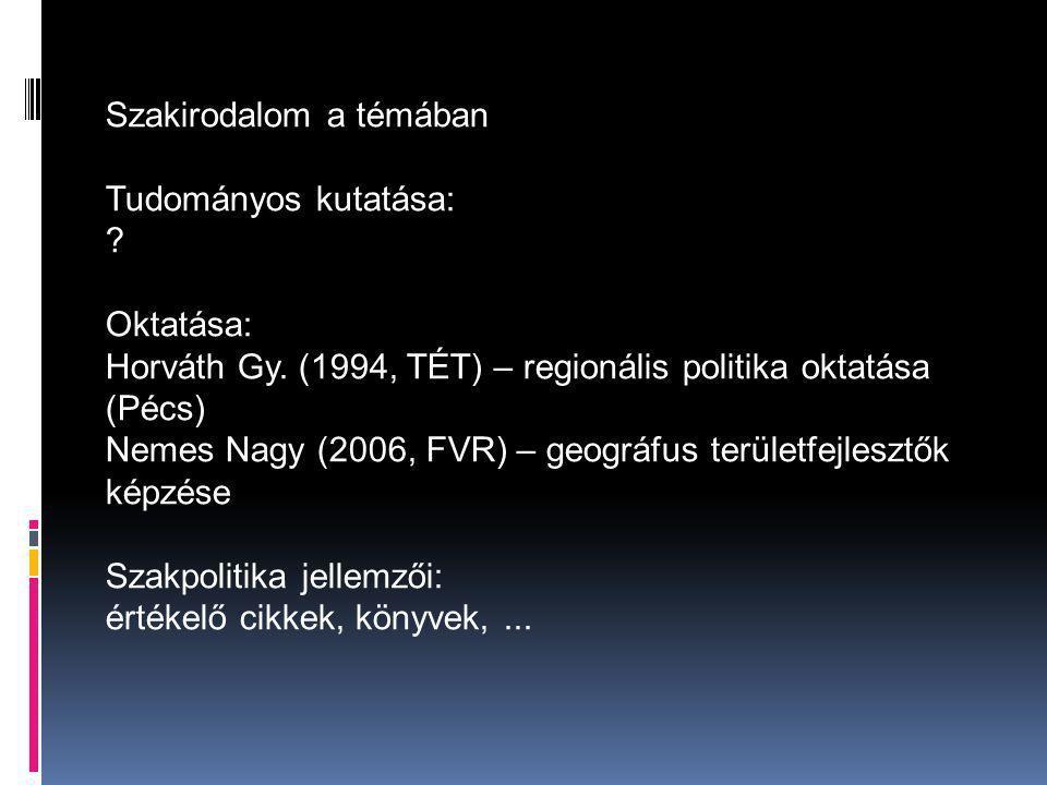Szakirodalom a témában Tudományos kutatása: . Oktatása: Horváth Gy.