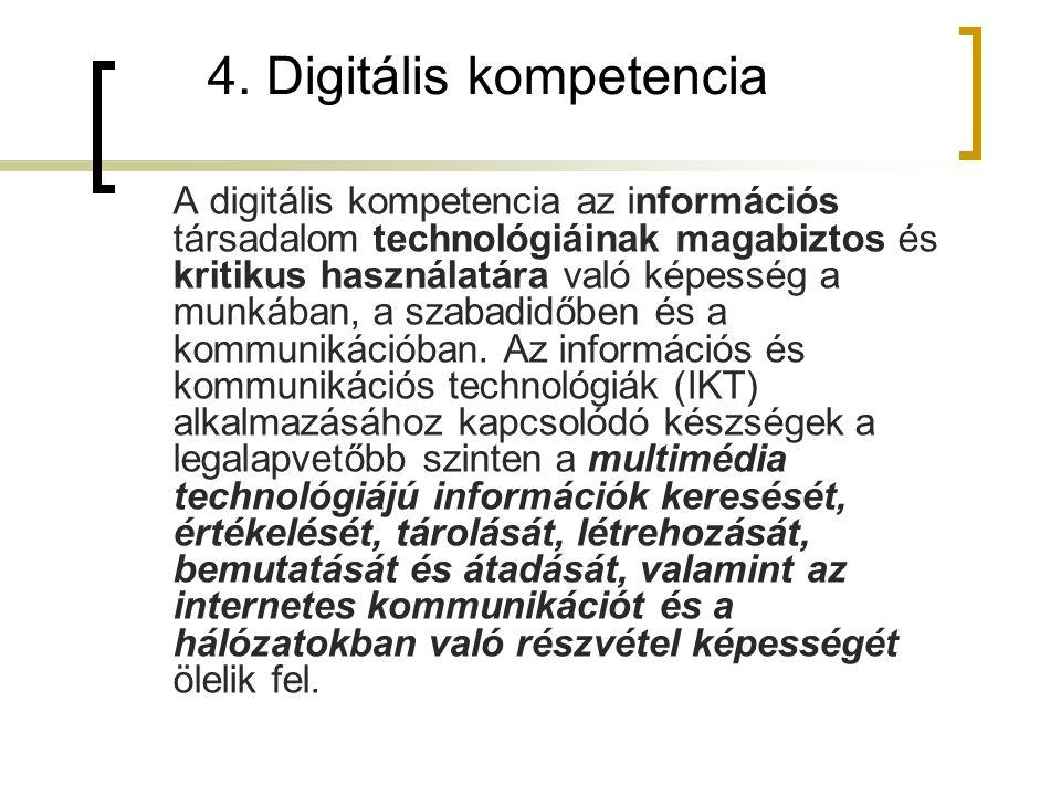 4. Digitális kompetencia A digitális kompetencia az információs társadalom technológiáinak magabiztos és kritikus használatára való képesség a munkába
