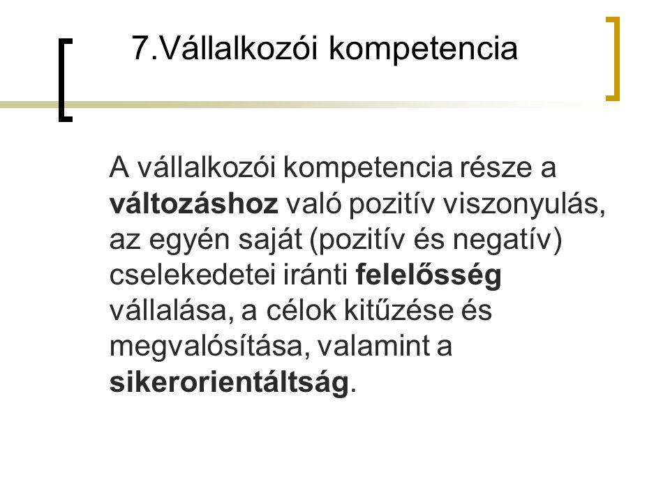 7.Vállalkozói kompetencia A vállalkozói kompetencia része a változáshoz való pozitív viszonyulás, az egyén saját (pozitív és negatív) cselekedetei irá