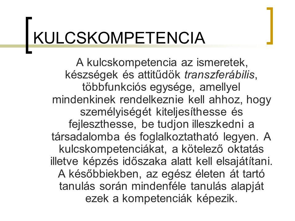 KULCSKOMPETENCIA A kulcskompetencia az ismeretek, készségek és attitűdök transzferábilis, többfunkciós egysége, amellyel mindenkinek rendelkeznie kell