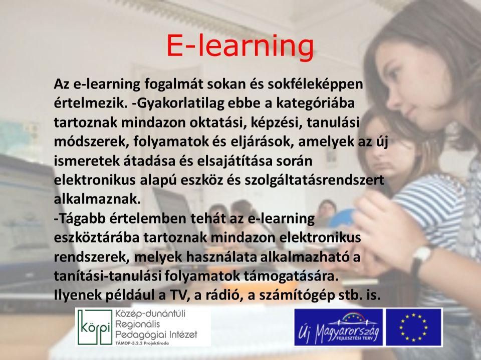 E-learning Az e-learning fogalmát sokan és sokféleképpen értelmezik. -Gyakorlatilag ebbe a kategóriába tartoznak mindazon oktatási, képzési, tanulási