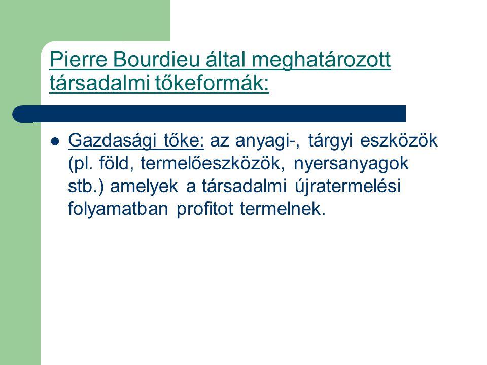 Pierre Bourdieu által meghatározott társadalmi tőkeformák: Gazdasági tőke: az anyagi-, tárgyi eszközök (pl. föld, termelőeszközök, nyersanyagok stb.)