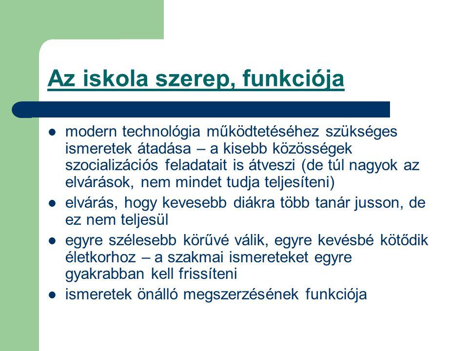 Az iskola szerep, funkciója modern technológia működtetéséhez szükséges ismeretek átadása – a kisebb közösségek szocializációs feladatait is átveszi (