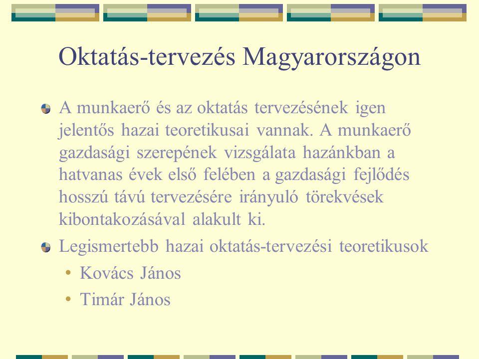 Oktatás-tervezés Magyarországon A munkaerő és az oktatás tervezésének igen jelentős hazai teoretikusai vannak. A munkaerő gazdasági szerepének vizsgál