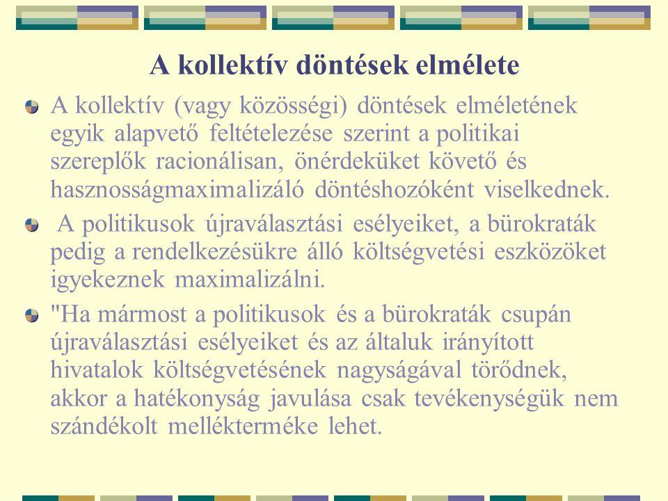 A kollektív döntések elmélete A kollektív (vagy közösségi) döntések elméletének egyik alapvető feltételezése szerint a politikai szereplők racionálisa