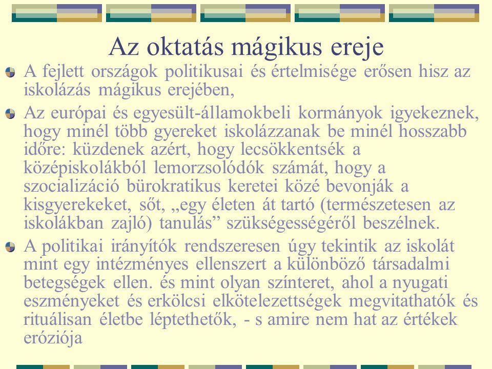 Az oktatás mágikus ereje A fejlett országok politikusai és értelmisége erősen hisz az iskolázás mágikus erejében, Az európai és egyesült-államokbeli k