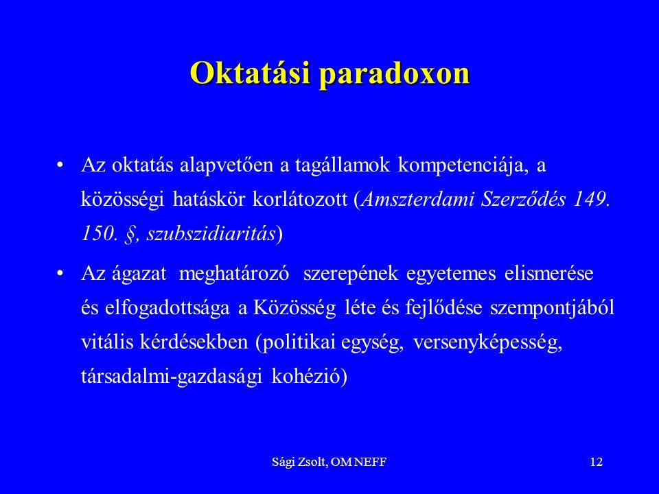 Sági Zsolt, OM NEFF12 Oktatási paradoxon Az oktatás alapvetően a tagállamok kompetenciája, a közösségi hatáskör korlátozott (Amszterdami Szerződés 149
