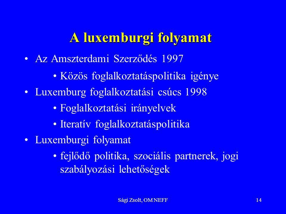 Sági Zsolt, OM NEFF14 A luxemburgi folyamat Az Amszterdami Szerződés 1997 Közös foglalkoztatáspolitika igénye Luxemburg foglalkoztatási csúcs 1998 Fog