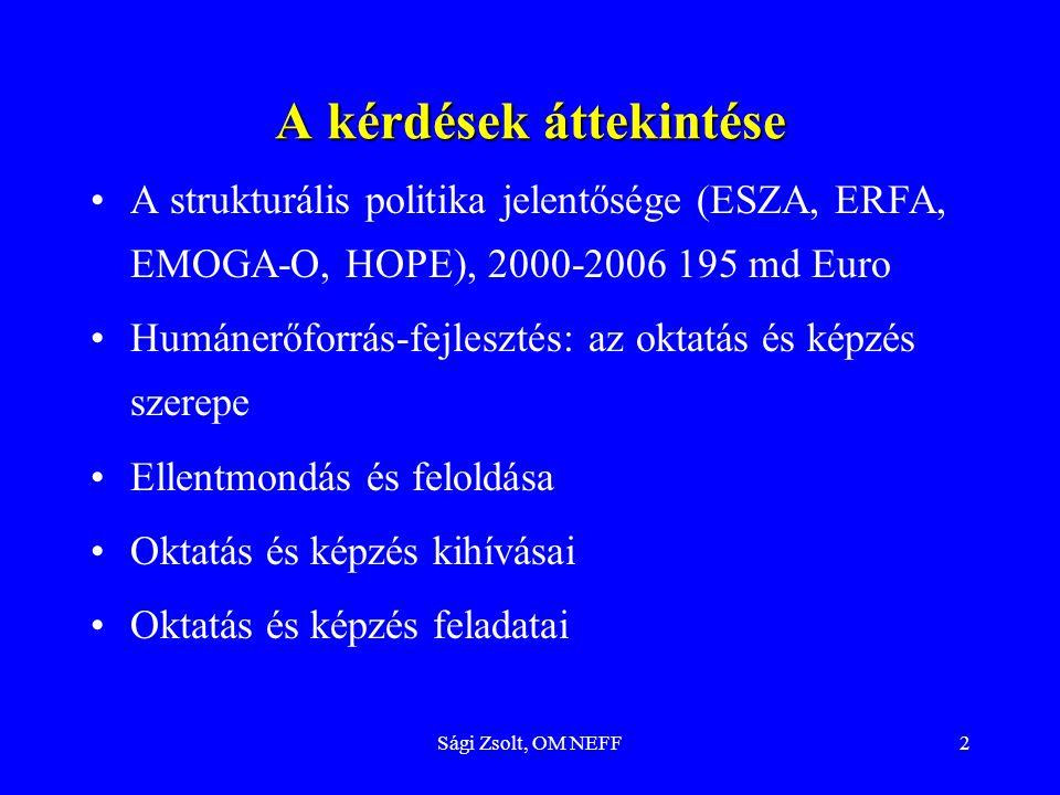 Sági Zsolt, OM NEFF2 A kérdések áttekintése A strukturális politika jelentősége (ESZA, ERFA, EMOGA-O, HOPE), 2000-2006 195 md Euro Humánerőforrás-fejlesztés: az oktatás és képzés szerepe Ellentmondás és feloldása Oktatás és képzés kihívásai Oktatás és képzés feladatai