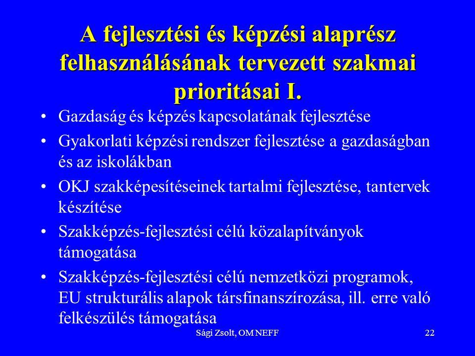 Sági Zsolt, OM NEFF22 A fejlesztési és képzési alaprész felhasználásának tervezett szakmai prioritásai I. Gazdaság és képzés kapcsolatának fejlesztése