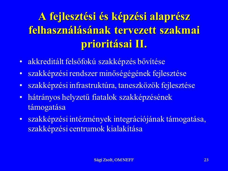 Sági Zsolt, OM NEFF23 A fejlesztési és képzési alaprész felhasználásának tervezett szakmai prioritásai II. akkreditált felsőfokú szakképzés bővítése s