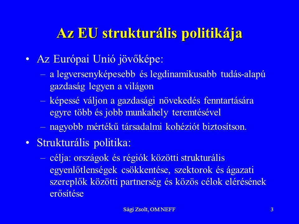 Sági Zsolt, OM NEFF4 A strukturális politika, az ESZA prioritásai Prioritásai –Munkanélküliségi probléma kezelése –Foglalkoztatottság növelése-szektorközi megközelítés –Humánerőforrás-fejlesztés –Társadalmi csoportok közötti egyenlőtlenségek csökkentése Eszközei –Európai Foglalkoztatási Stratégia, évente foglalkoztatás-politikai irányelvek –Európai Szociális Alap, 2000-től harmonizálva EFS-val –Szociális Charta –Aktív eszközök dominanciája –A munkahelyek dinamikája - A munkahelyek megőrzése - folyamatos képzés a foglalkoztatottak számára is –Prevenció – komplex oktatási programok