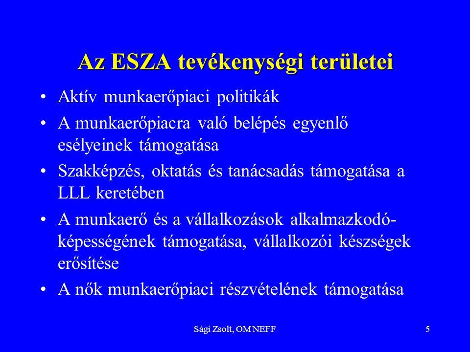 Sági Zsolt, OM NEFF5 Az ESZA tevékenységi területei Aktív munkaerőpiaci politikák A munkaerőpiacra való belépés egyenlő esélyeinek támogatása Szakképz