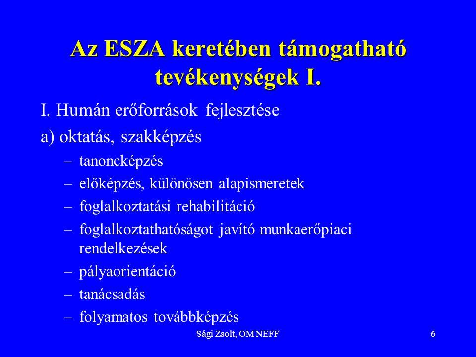 Sági Zsolt, OM NEFF6 Az ESZA keretében támogatható tevékenységek I. I. Humán erőforrások fejlesztése a) oktatás, szakképzés –tanoncképzés –előképzés,