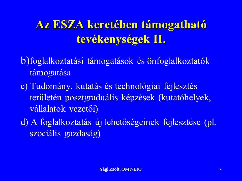 Sági Zsolt, OM NEFF7 Az ESZA keretében támogatható tevékenységek II. b) foglalkoztatási támogatások és önfoglalkoztatók támogatása c) Tudomány, kutatá