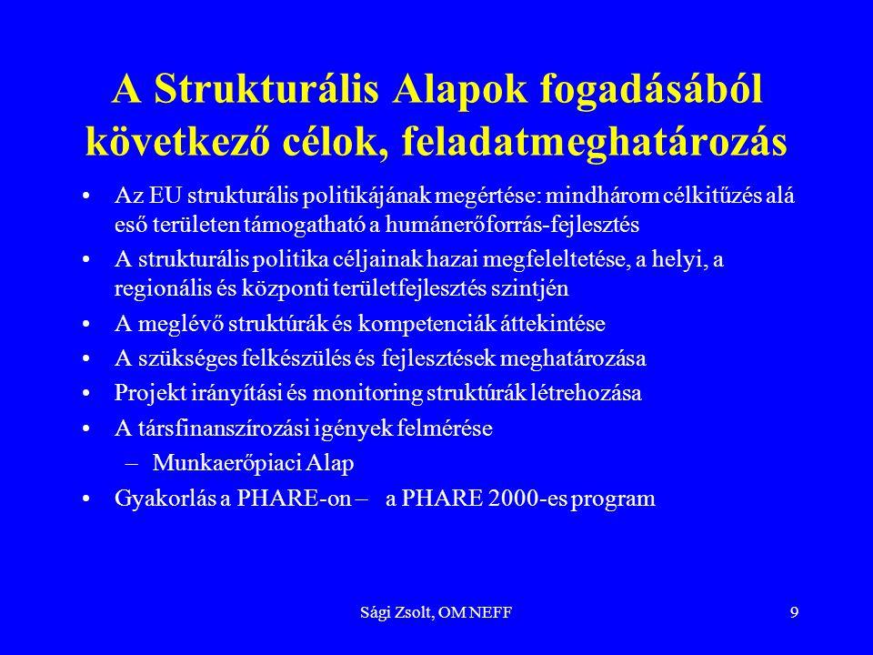 Sági Zsolt, OM NEFF9 A Strukturális Alapok fogadásából következő célok, feladatmeghatározás Az EU strukturális politikájának megértése: mindhárom célk