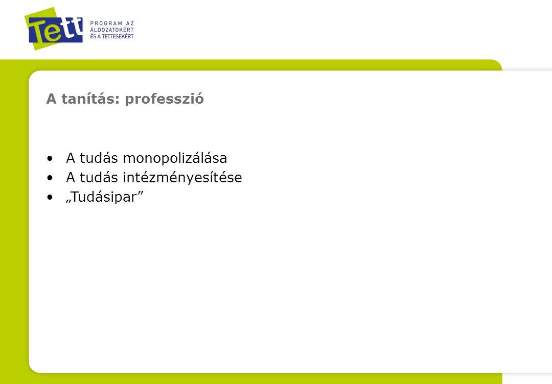 """A tanítás: professzió A tudás monopolizálása A tudás intézményesítése """"Tudásipar"""