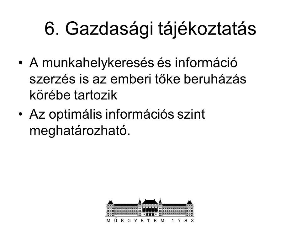 6. Gazdasági tájékoztatás A munkahelykeresés és információ szerzés is az emberi tőke beruházás körébe tartozik Az optimális információs szint meghatár
