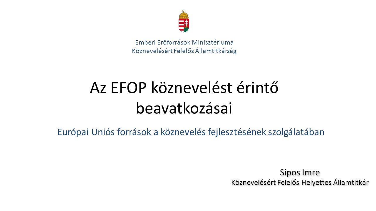 Az EFOP köznevelést érintő beavatkozásai Európai Uniós források a köznevelés fejlesztésének szolgálatában Emberi Erőforrások Minisztériuma Köznevelésé