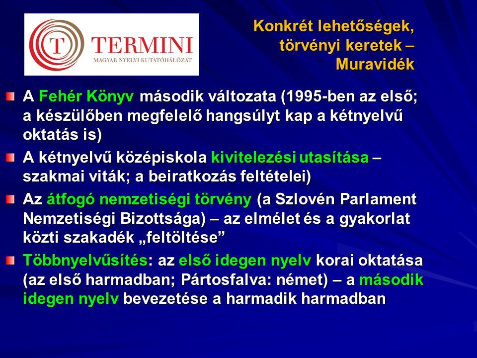 """Konkrét lehetőségek, törvényi keretek – Muravidék A Fehér Könyv második változata (1995-ben az első; a készülőben megfelelő hangsúlyt kap a kétnyelvű oktatás is) A kétnyelvű középiskola kivitelezési utasítása – szakmai viták; a beiratkozás feltételei) Az átfogó nemzetiségi törvény (a Szlovén Parlament Nemzetiségi Bizottsága) – az elmélet és a gyakorlat közti szakadék """"feltöltése Többnyelvűsítés: az első idegen nyelv korai oktatása (az első harmadban; Pártosfalva: német) – a második idegen nyelv bevezetése a harmadik harmadban"""