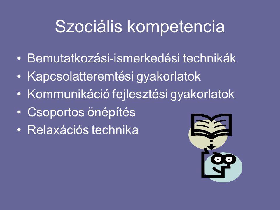 Szociális kompetencia Bemutatkozási-ismerkedési technikák Kapcsolatteremtési gyakorlatok Kommunikáció fejlesztési gyakorlatok Csoportos önépítés Relaxációs technika