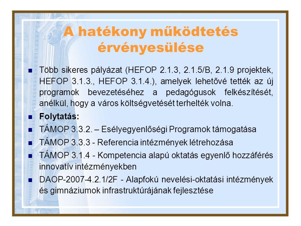 A hatékony működtetés érvényesülése Több sikeres pályázat (HEFOP 2.1.3, 2.1.5/B, 2.1.9 projektek, HEFOP 3.1.3., HEFOP 3.1.4.), amelyek lehetővé tették