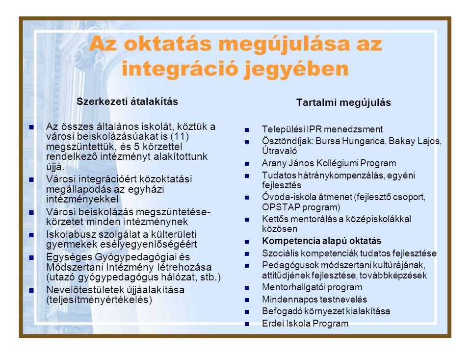 Az oktatás megújulása az integráció jegyében Szerkezeti átalakítás Az összes általános iskolát, köztük a városi beiskolázásúakat is (11) megszüntettük