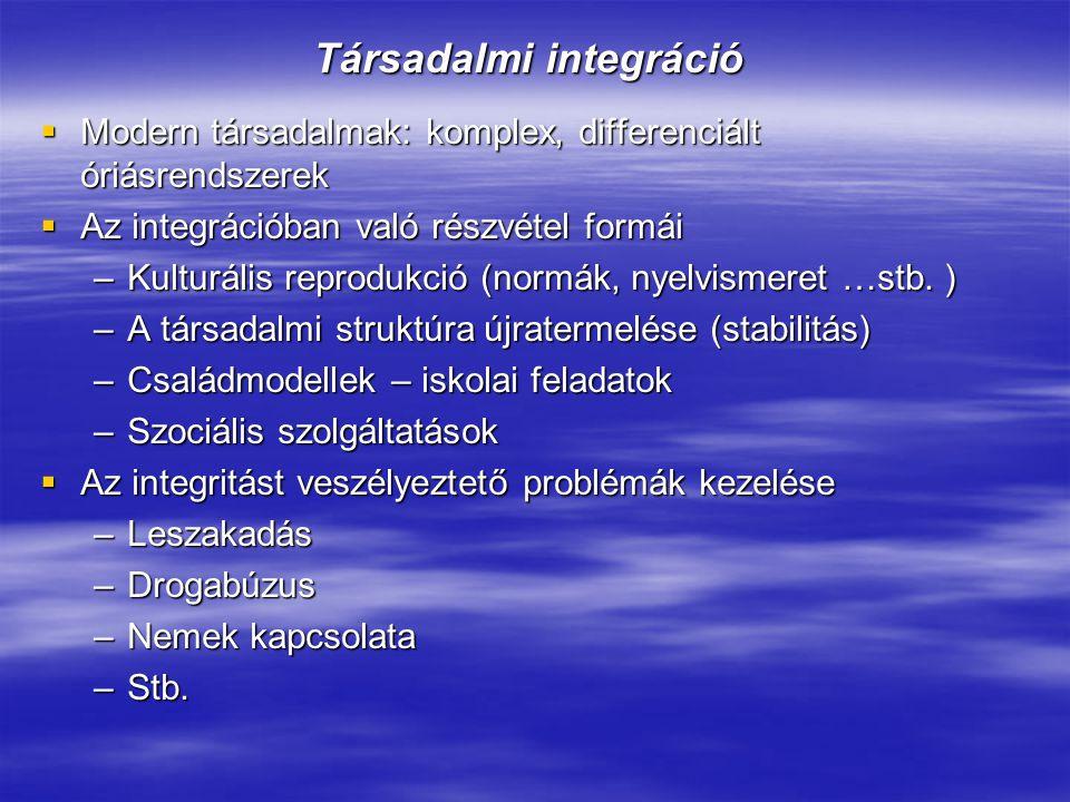 Társadalmi integráció  Modern társadalmak: komplex, differenciált óriásrendszerek  Az integrációban való részvétel formái –Kulturális reprodukció (n