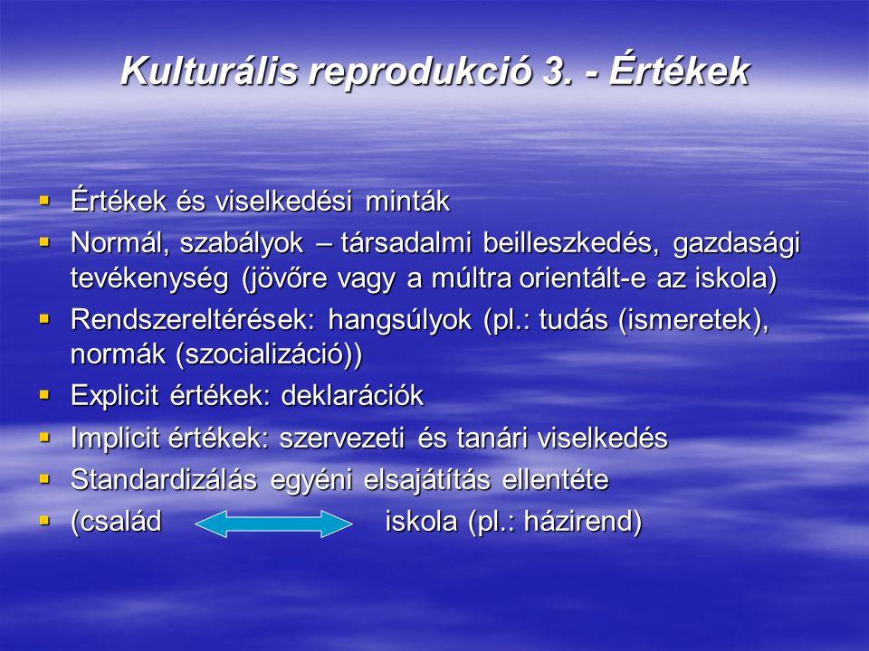 Kulturális reprodukció 3. - Értékek  Értékek és viselkedési minták  Normál, szabályok – társadalmi beilleszkedés, gazdasági tevékenység (jövőre vagy