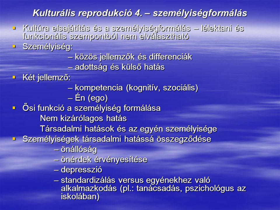Kulturális reprodukció 4. – személyiségformálás  Kultúra elsajátítás és a személyiségformálás – lélektani és funkcionális szempontból nem elválasztha