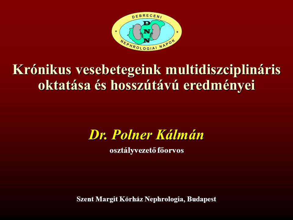 Krónikus vesebetegeink multidiszciplináris oktatása és hosszútávú eredményei Dr. Polner Kálmán osztályvezető főorvos Szent Margit Kórház Nephrologia,