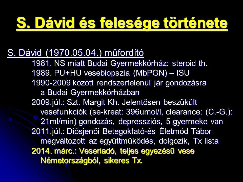 S. Dávid és felesége története S. Dávid (1970.05.04.) műfordító 1981. NS miatt Budai Gyermekkórház: steroid th. 1989. PU+HU vesebiopszia (MbPGN) – ISU