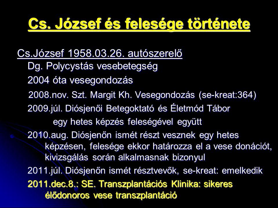 Cs. József és felesége története Cs.József 1958.03.26. autószerelő Dg. Polycystás vesebetegség 2004 óta vesegondozás 2008.nov. Szt. Margit Kh. Vesegon