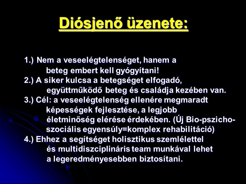 Diósjenő üzenete: 1.) Nem a veseelégtelenséget, hanem a beteg embert kell gyógyítani! beteg embert kell gyógyítani! 2.) A siker kulcsa a betegséget el