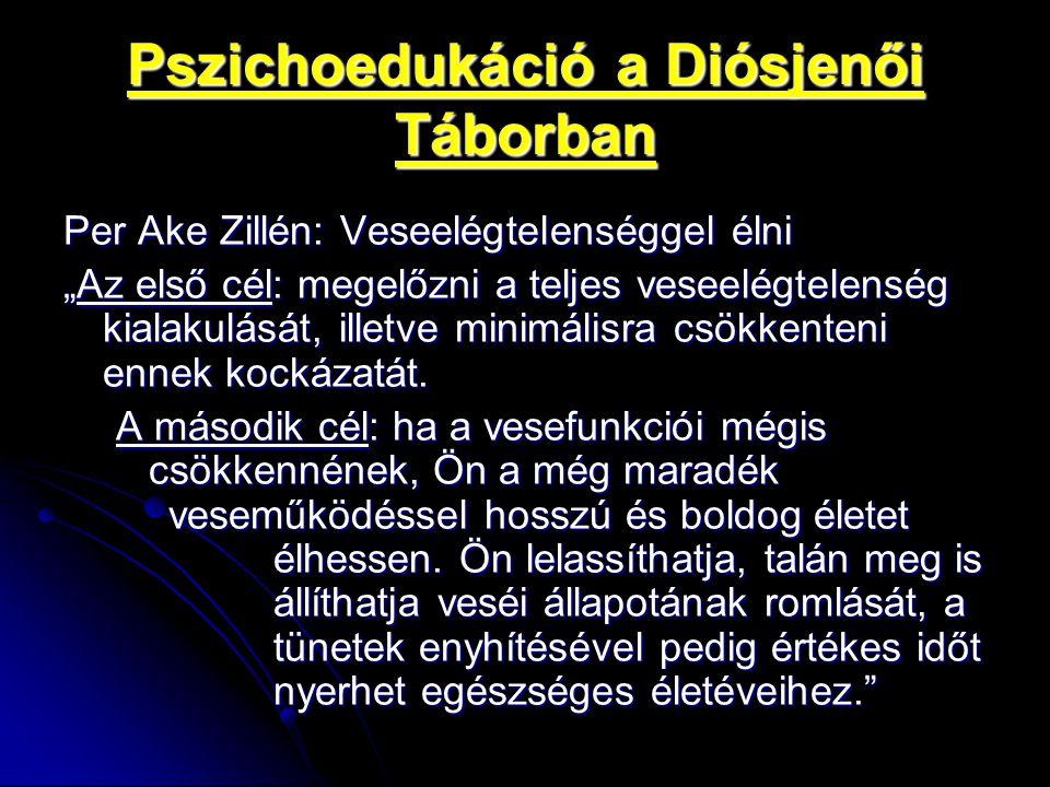"""Pszichoedukáció a Diósjenői Táborban Per Ake Zillén: Veseelégtelenséggel élni """"Az első cél: megelőzni a teljes veseelégtelenség kialakulását, illetve"""