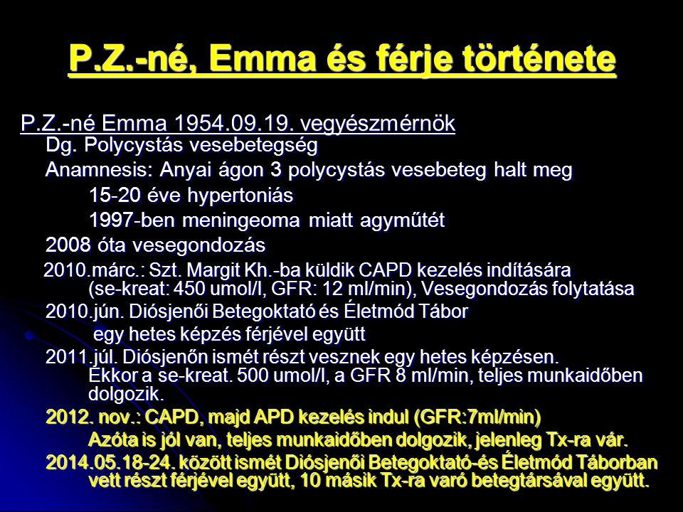 P.Z.-né, Emma és férje története P.Z.-né Emma 1954.09.19. vegyészmérnök Dg. Polycystás vesebetegség Anamnesis: Anyai ágon 3 polycystás vesebeteg halt
