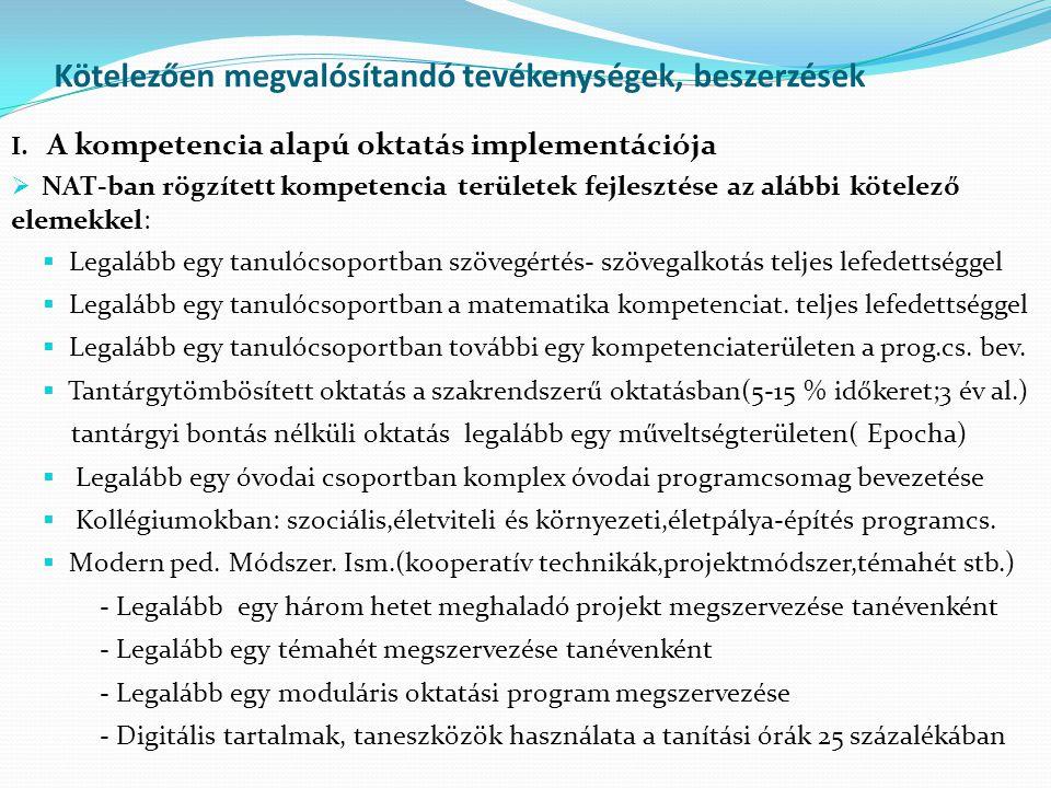 Kötelezően megvalósítandó tevékenységek, beszerzések I. A kompetencia alapú oktatás implementációja  NAT-ban rögzített kompetencia területek fejleszt