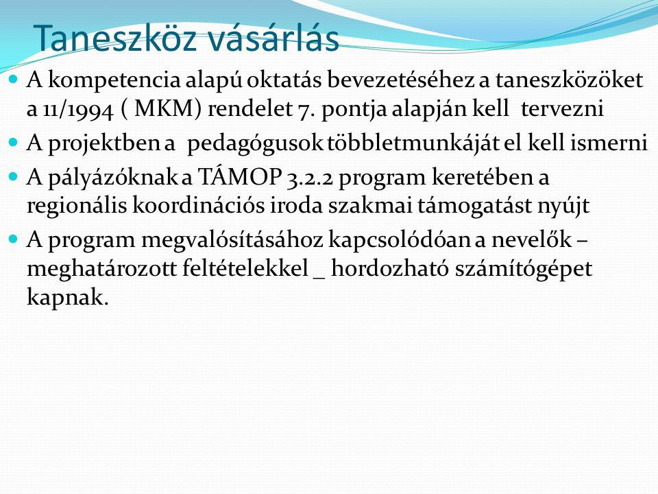 Taneszköz vásárlás A kompetencia alapú oktatás bevezetéséhez a taneszközöket a 11/1994 ( MKM) rendelet 7. pontja alapján kell tervezni A projektben a