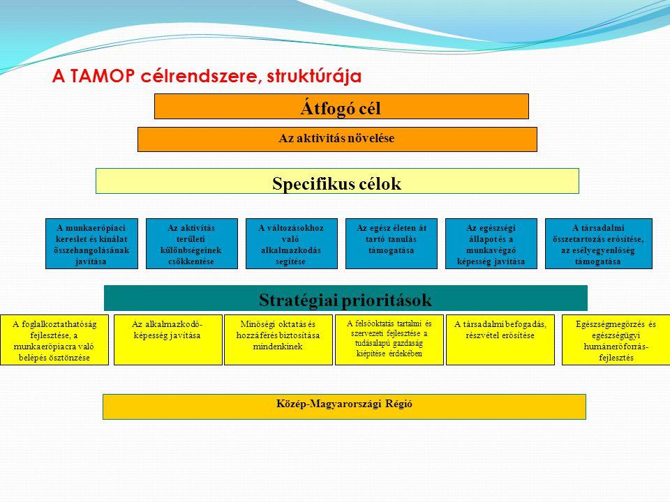 A TAMOP célrendszere, struktúrája Specifikus célok Az aktivitás növelése A munkaerőpiaci kereslet és kínálat összehangolásának javítása Az aktivitás t