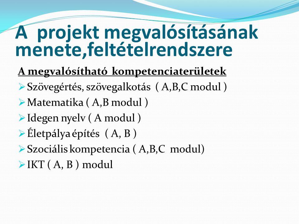 A projekt megvalósításának menete,feltételrendszere A megvalósítható kompetenciaterületek  Szövegértés, szövegalkotás ( A,B,C modul )  Matematika (