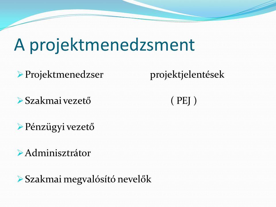 A projektmenedzsment  Projektmenedzser projektjelentések  Szakmai vezető ( PEJ )  Pénzügyi vezető  Adminisztrátor  Szakmai megvalósító nevelők