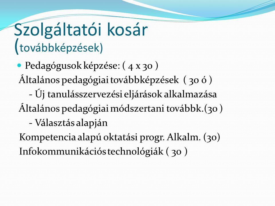 Szolgáltatói kosár ( továbbképzések) Pedagógusok képzése: ( 4 x 30 ) Általános pedagógiai továbbképzések ( 30 ó ) - Új tanulásszervezési eljárások alk