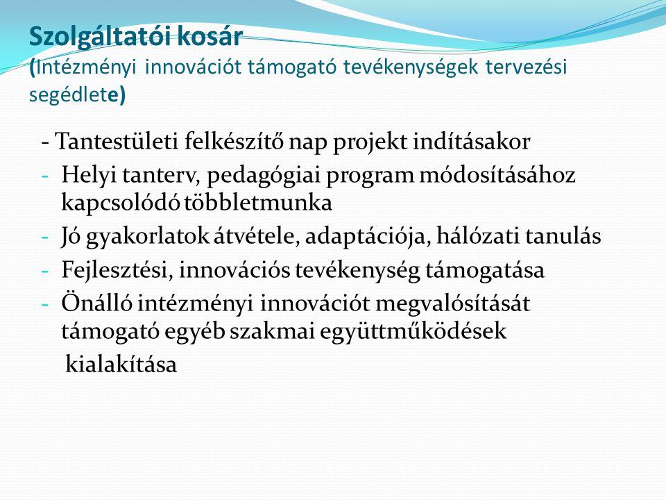 Szolgáltatói kosár (Intézményi innovációt támogató tevékenységek tervezési segédlete) - Tantestületi felkészítő nap projekt indításakor - Helyi tanter